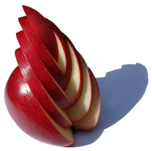 A finished feathered apple