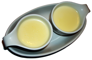 Lemon posset in ramekins