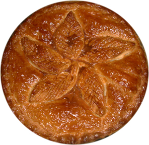 Puff pastry pie crust decorated with pastry leaves