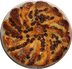 Brioche and Butter Pudding with Marmalade and Whiskied Raisins