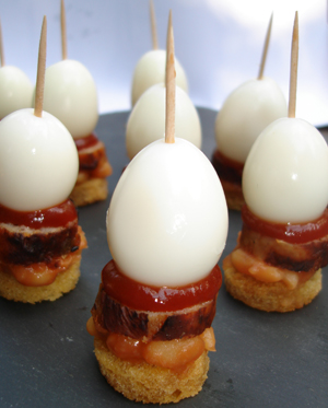 A tray full of Full English Breakfast canapes