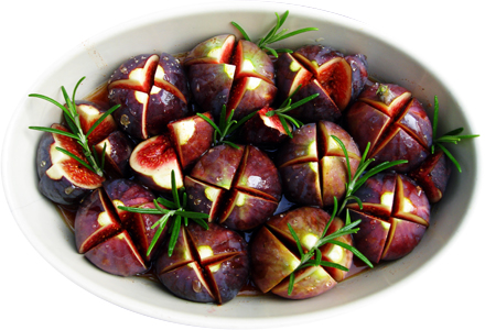 Figs ready for baking, with ginger wine, honey and rosemary.