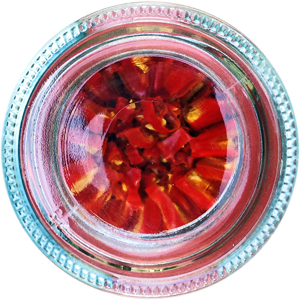 Dried birds-eye chillies in a jar